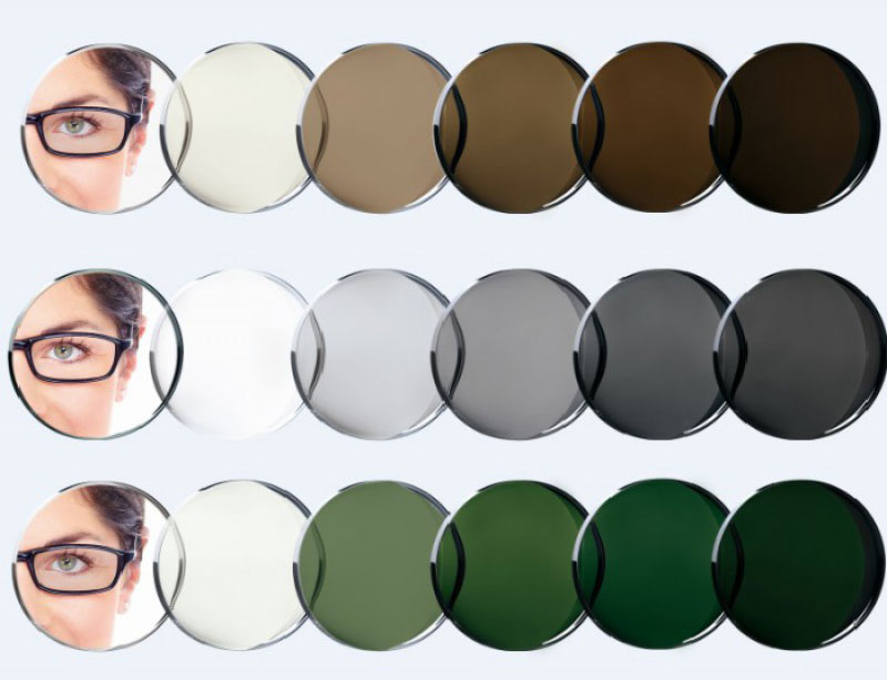 photochromatic single vision lenses with different shades
